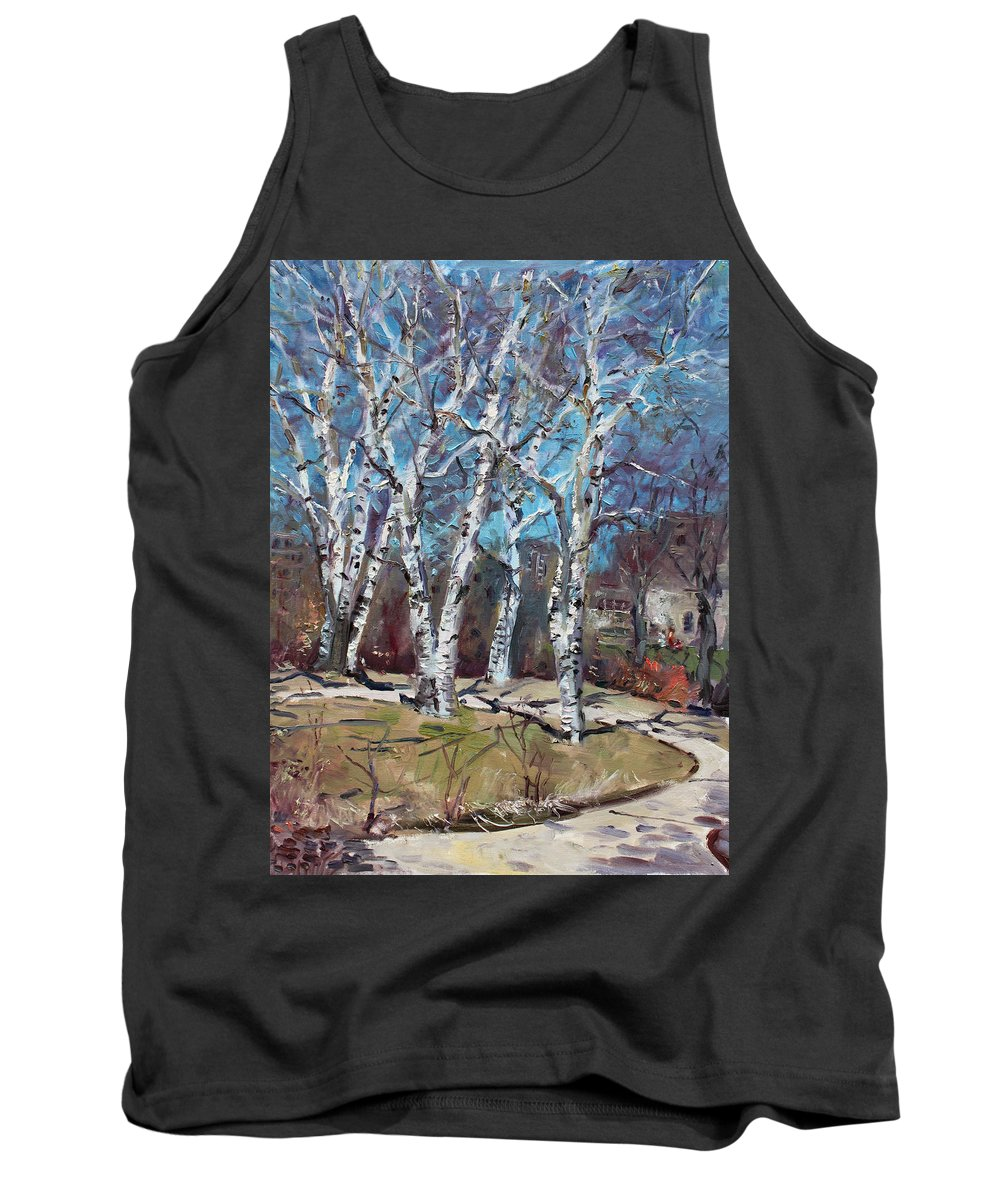 Landscape Tank Top featuring the painting Birch Trees Next Door by Ylli Haruni
