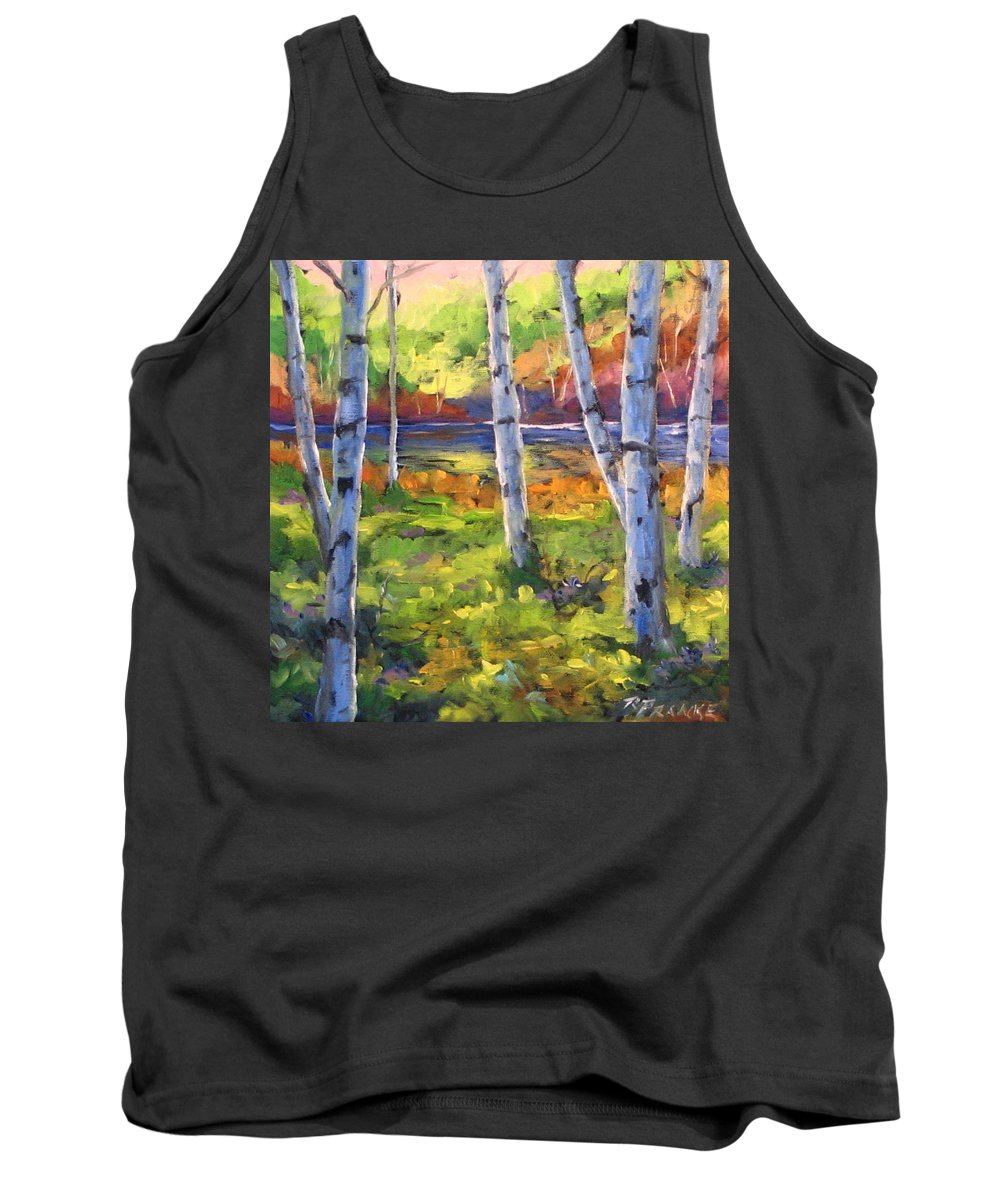 Art Tank Top featuring the painting Birches 01 by Richard T Pranke