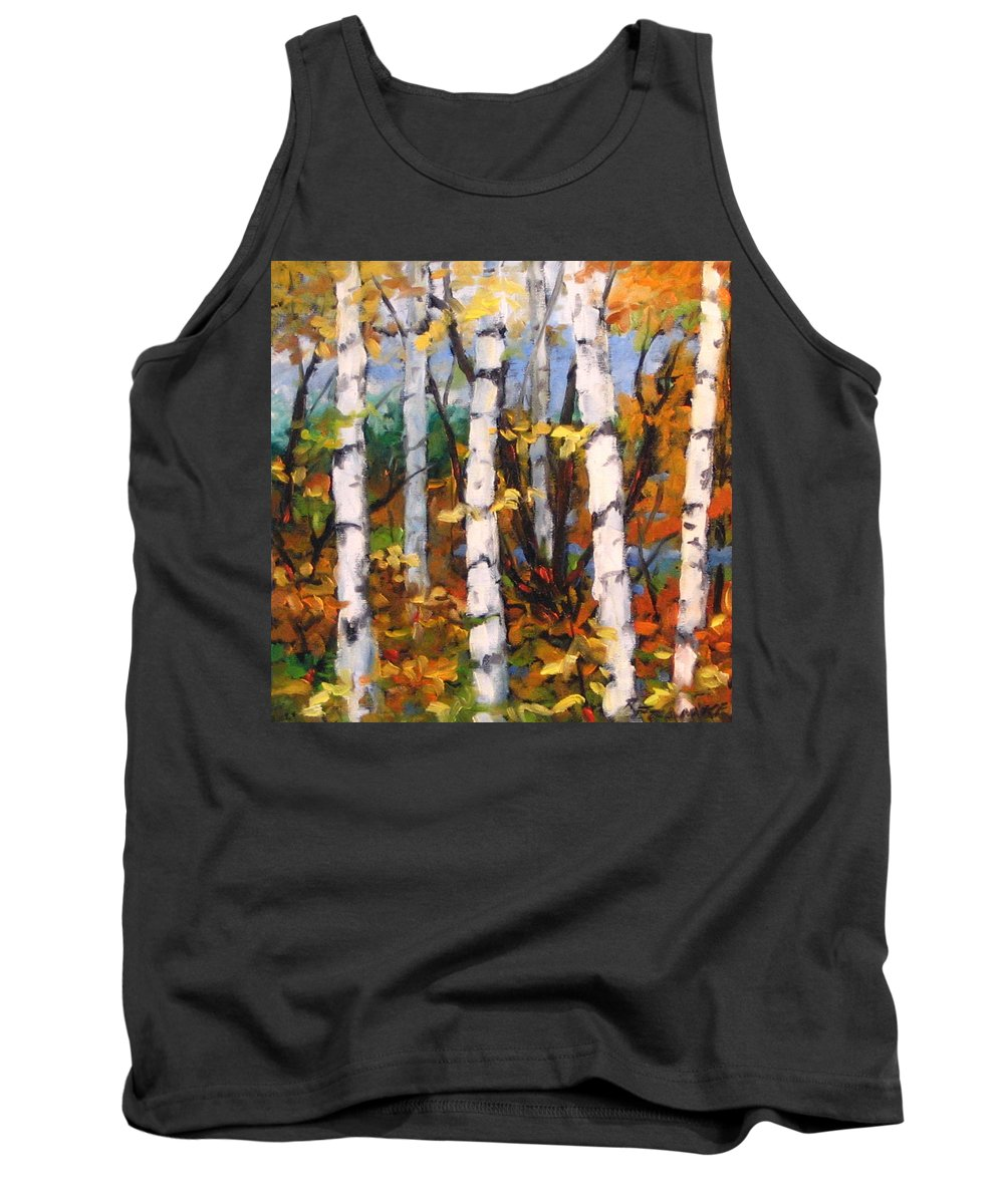 Art Tank Top featuring the painting Birches 03 by Richard T Pranke