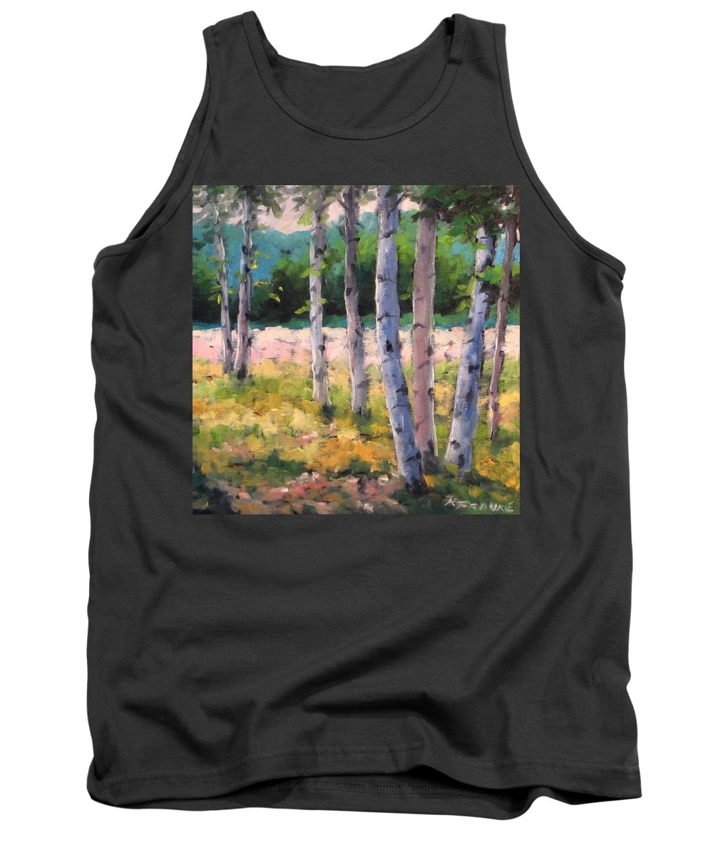 Art Tank Top featuring the painting Birches 04 by Richard T Pranke