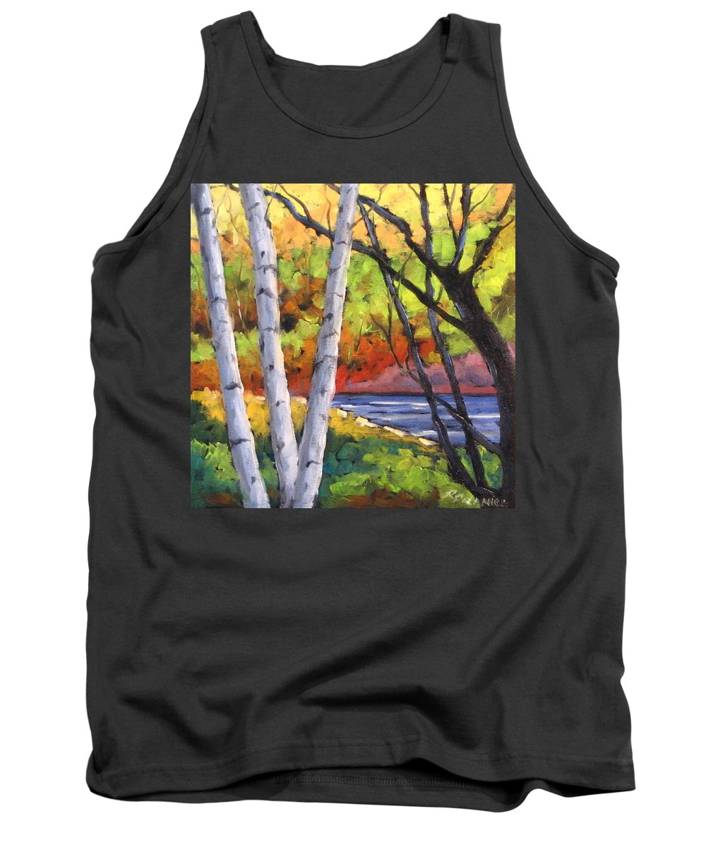 Art Tank Top featuring the painting Birches 06 by Richard T Pranke