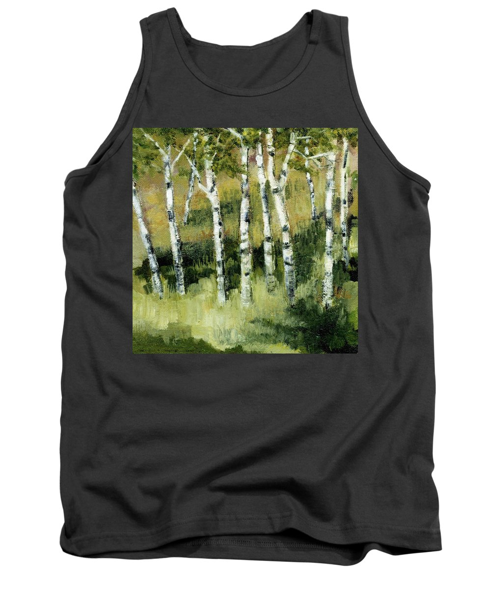 Trees Tank Top featuring the painting Birches On A Hill by Michelle Calkins