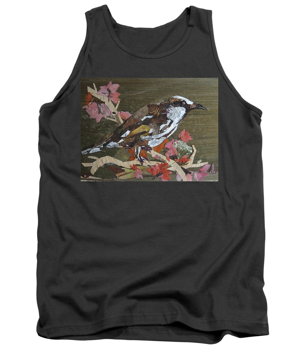 Bird Tank Top featuring the mixed media Bird White Eye by Basant Soni