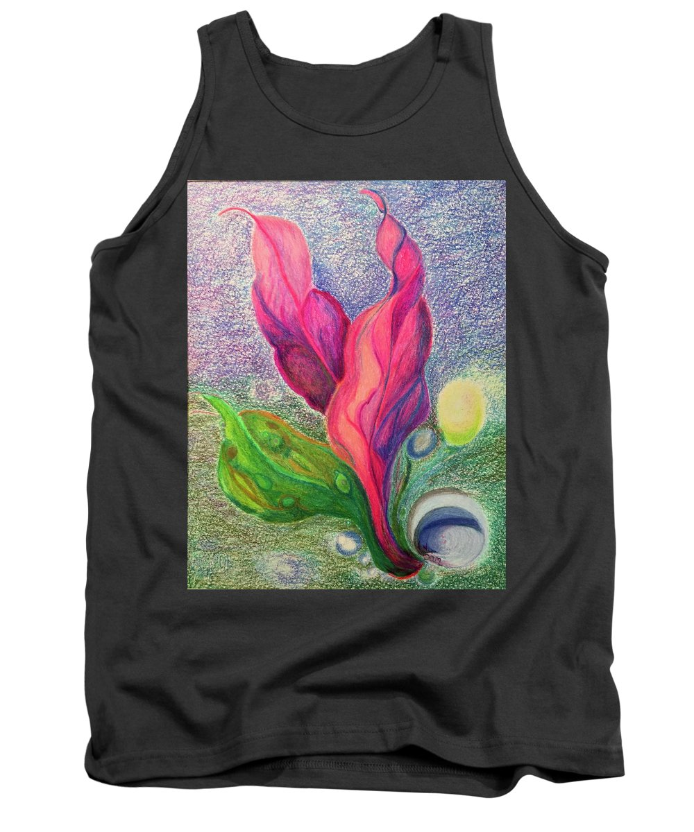 Seascape Nature Plants Seas Water Growth Sealife Birth Tank Top featuring the drawing Birth by Suzanne Udell Levinger