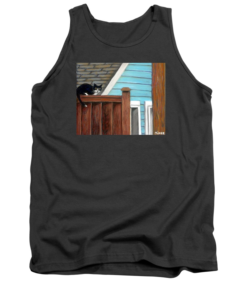 Cat Tank Top featuring the painting Black Alley Cat by Minaz Jantz