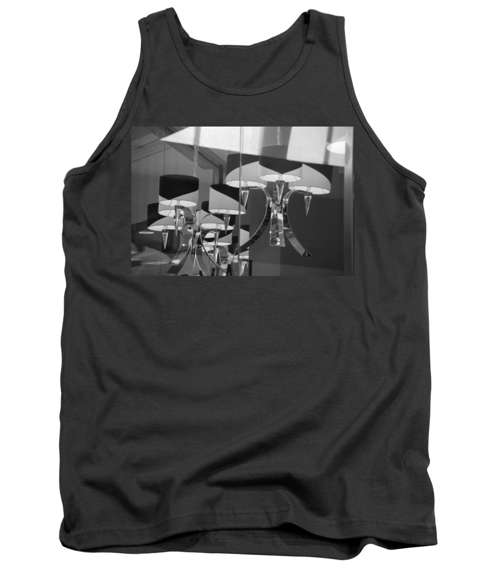 Chandeliers Tank Top featuring the photograph Black And White Lights by Rob Hans