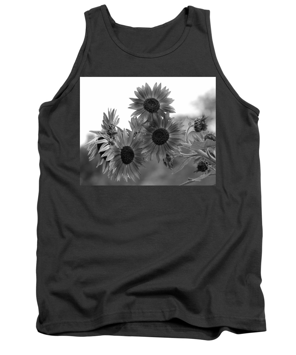 Flower Tank Top featuring the photograph Black And White Sunflowers by Amy Fose
