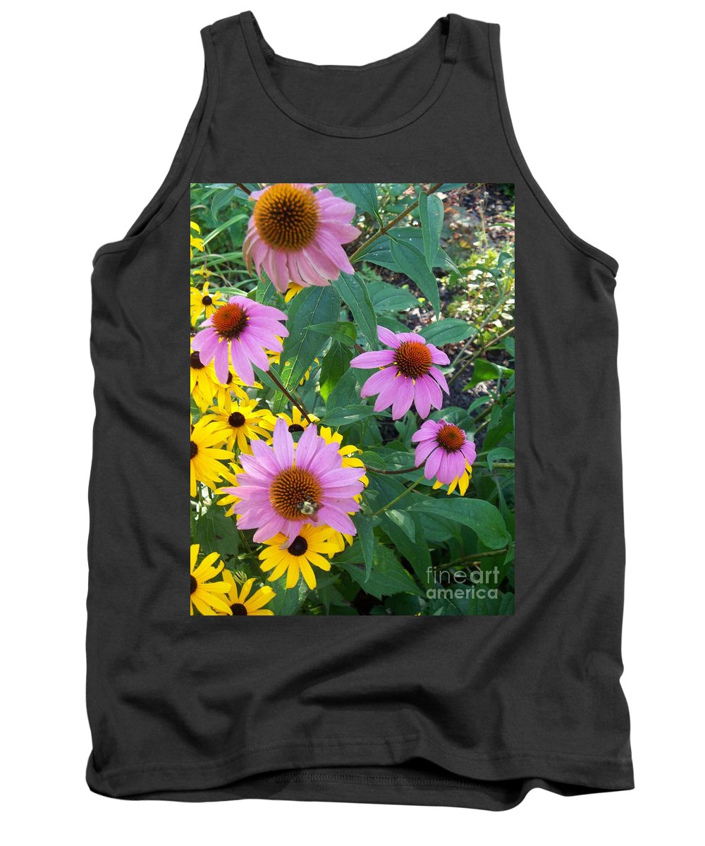 Black Eyesusans Tank Top featuring the painting Black Eye Susans And Echinacea by Eric Schiabor