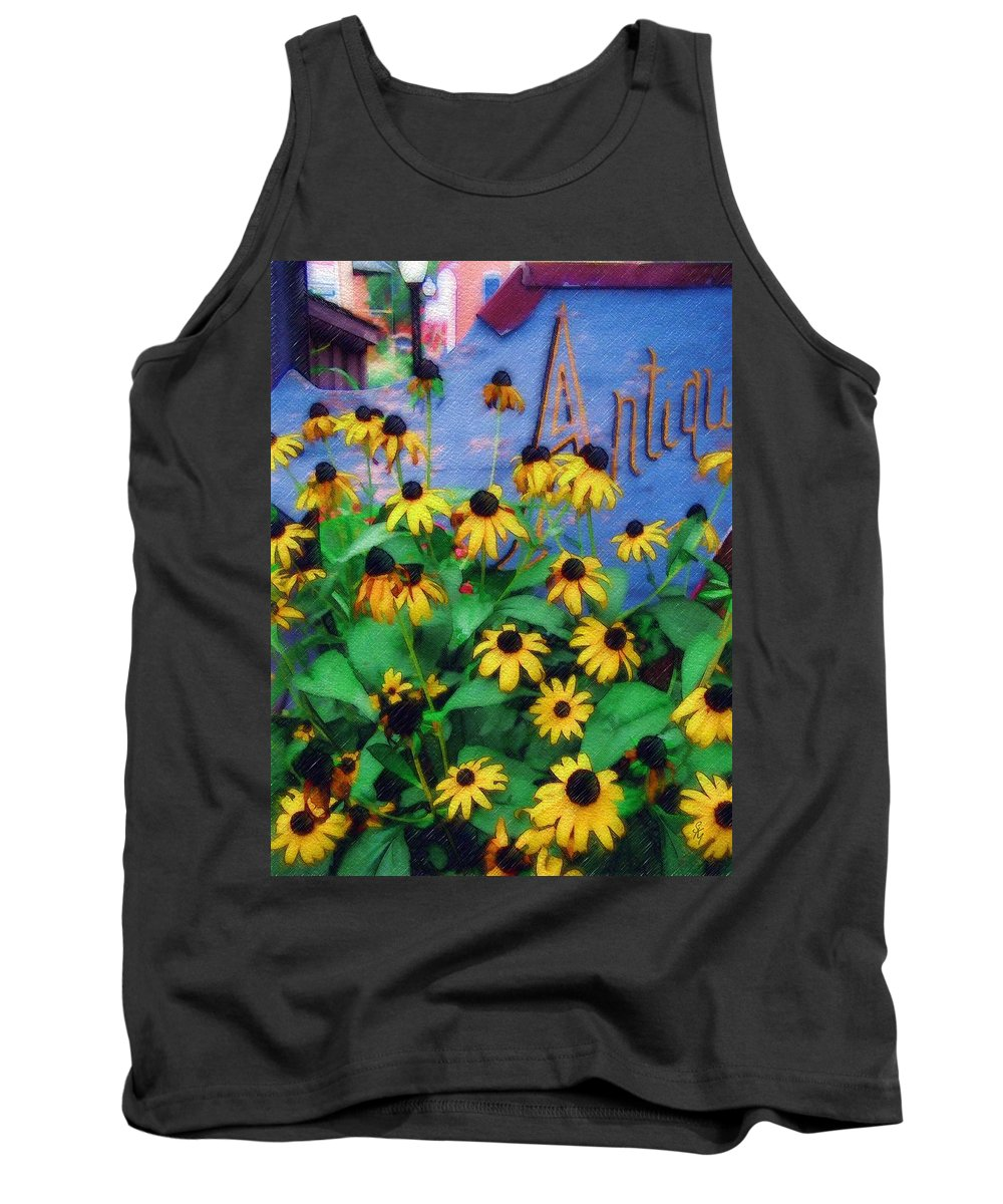 Flowers Tank Top featuring the photograph Black-eyed Susans at the Bag Factory by Sandy MacGowan