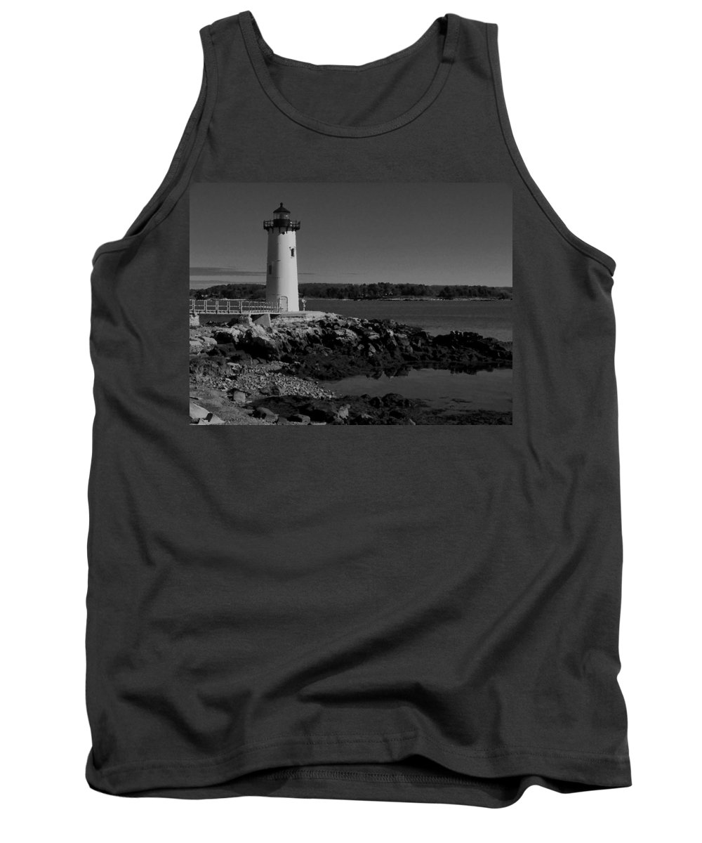 Portsmouth Harbor Lighthouse Tank Top featuring the photograph Black N White-portsmouth Harbor Lighthouse by Nancie DeMellia