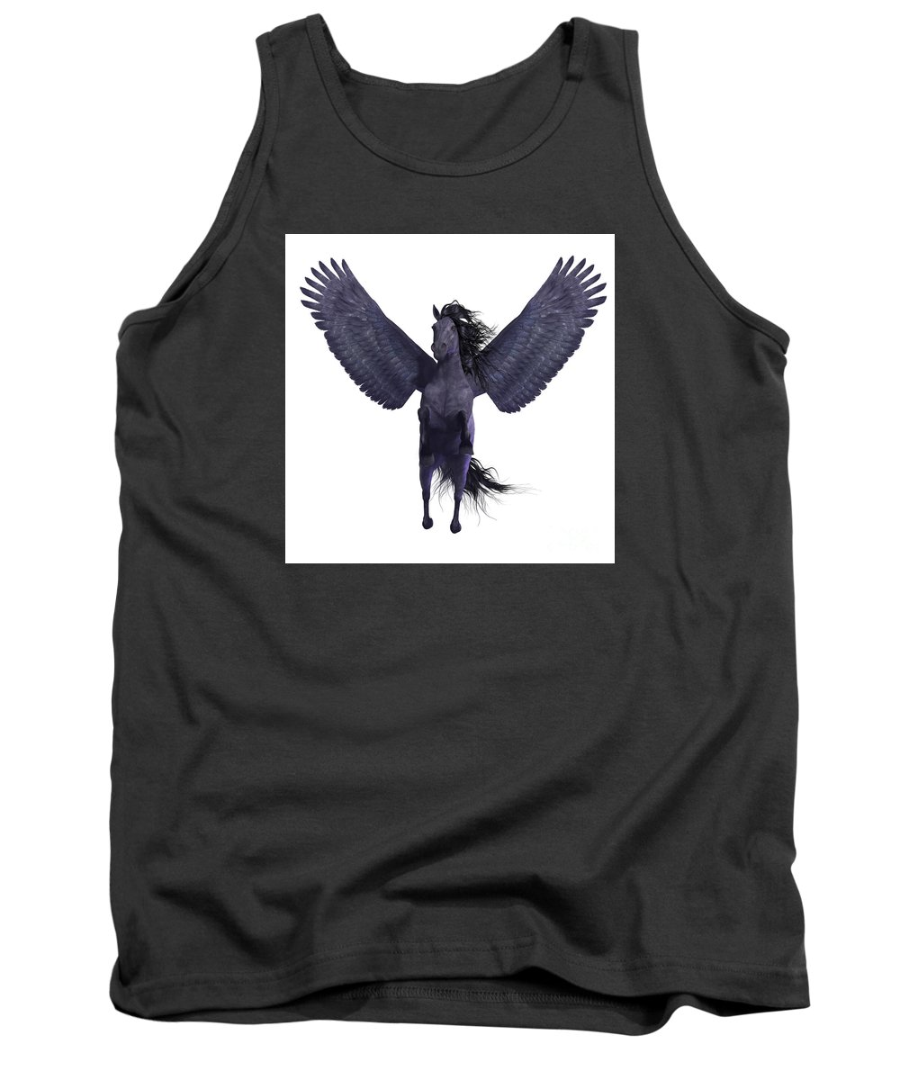 Pegasus Tank Top featuring the painting Black Pegasus On White by Corey Ford