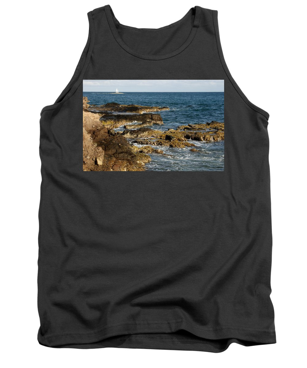 Sailboat Tank Top featuring the photograph Black Rock Point And Sailboat by Jean Macaluso