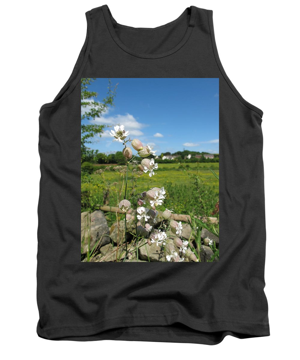 Bladder Campion Tank Top featuring the photograph Bladder Campion On Stone Wall by Bob Kemp