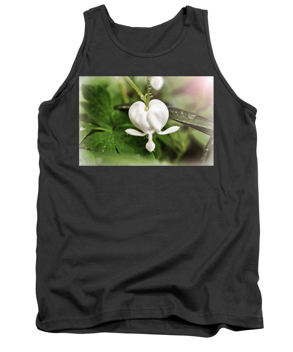 White Tank Top featuring the photograph Bleeding Heart by Amber Flowers
