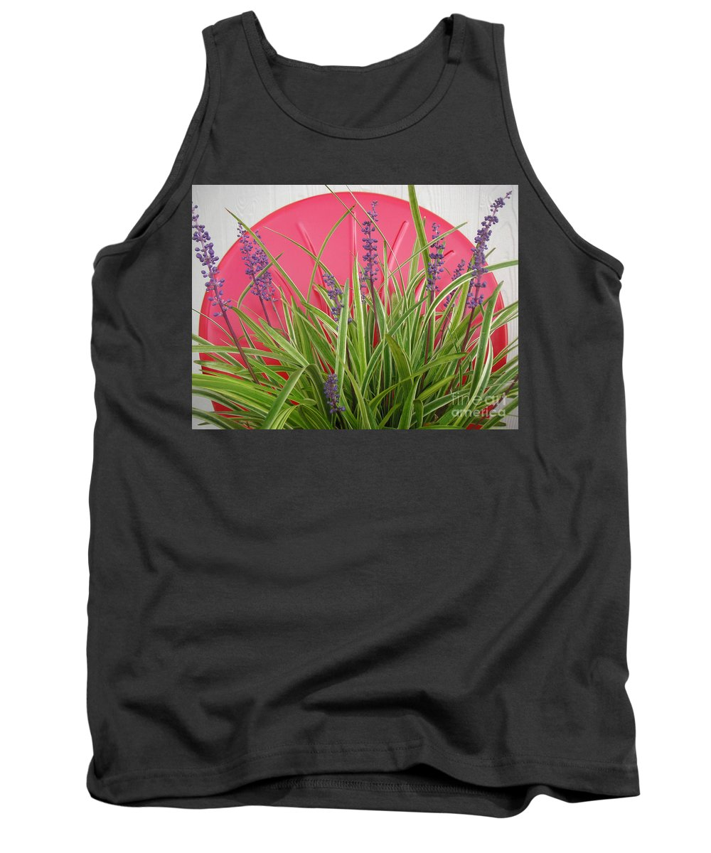 Nature Tank Top featuring the photograph Blooming Spider Against Red by Lucyna A M Green