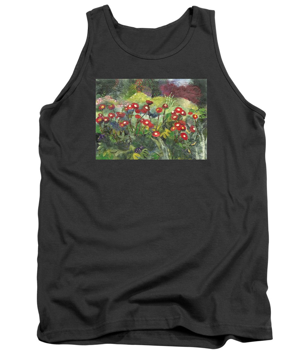 Limited Edition Prints Tank Top featuring the painting Blossom in Red by Nira Schwartz