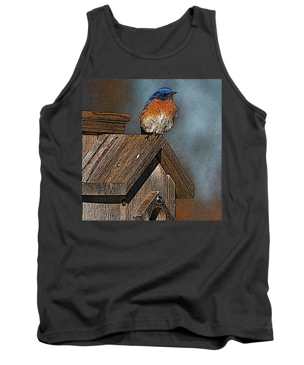 Blue Bird Tank Top featuring the photograph Blue Bird Songs by Robert Pearson