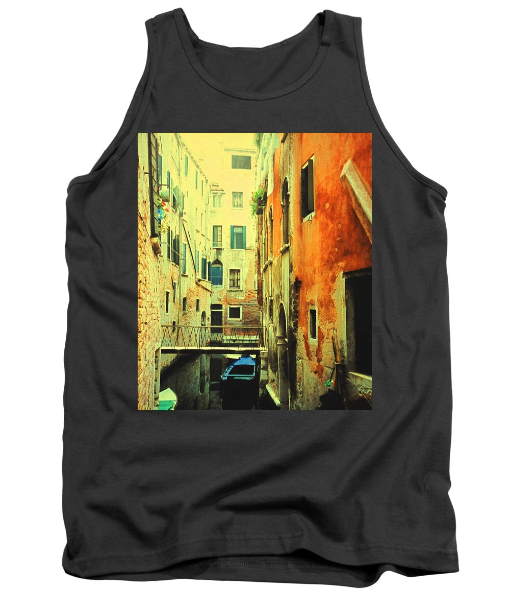 Venice Tank Top featuring the photograph Blue Boat In Venice by Ian MacDonald