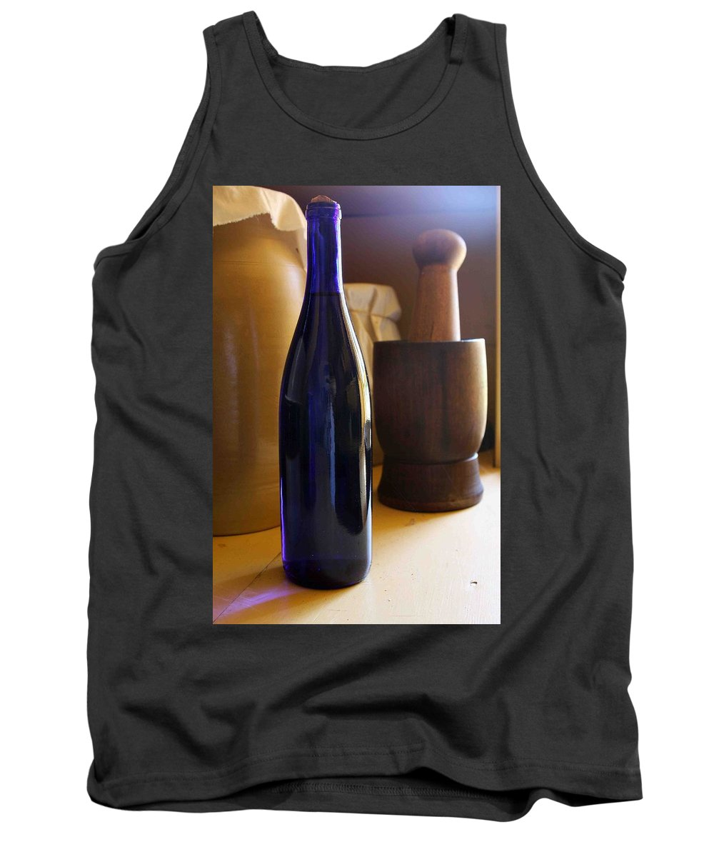 Still Life Tank Top featuring the photograph Blue Bottle And Mortar by Nelson Strong