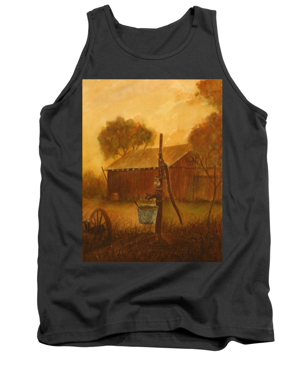 Barn; Bucket; Country Tank Top featuring the painting Blue Bucket by Ben Kiger