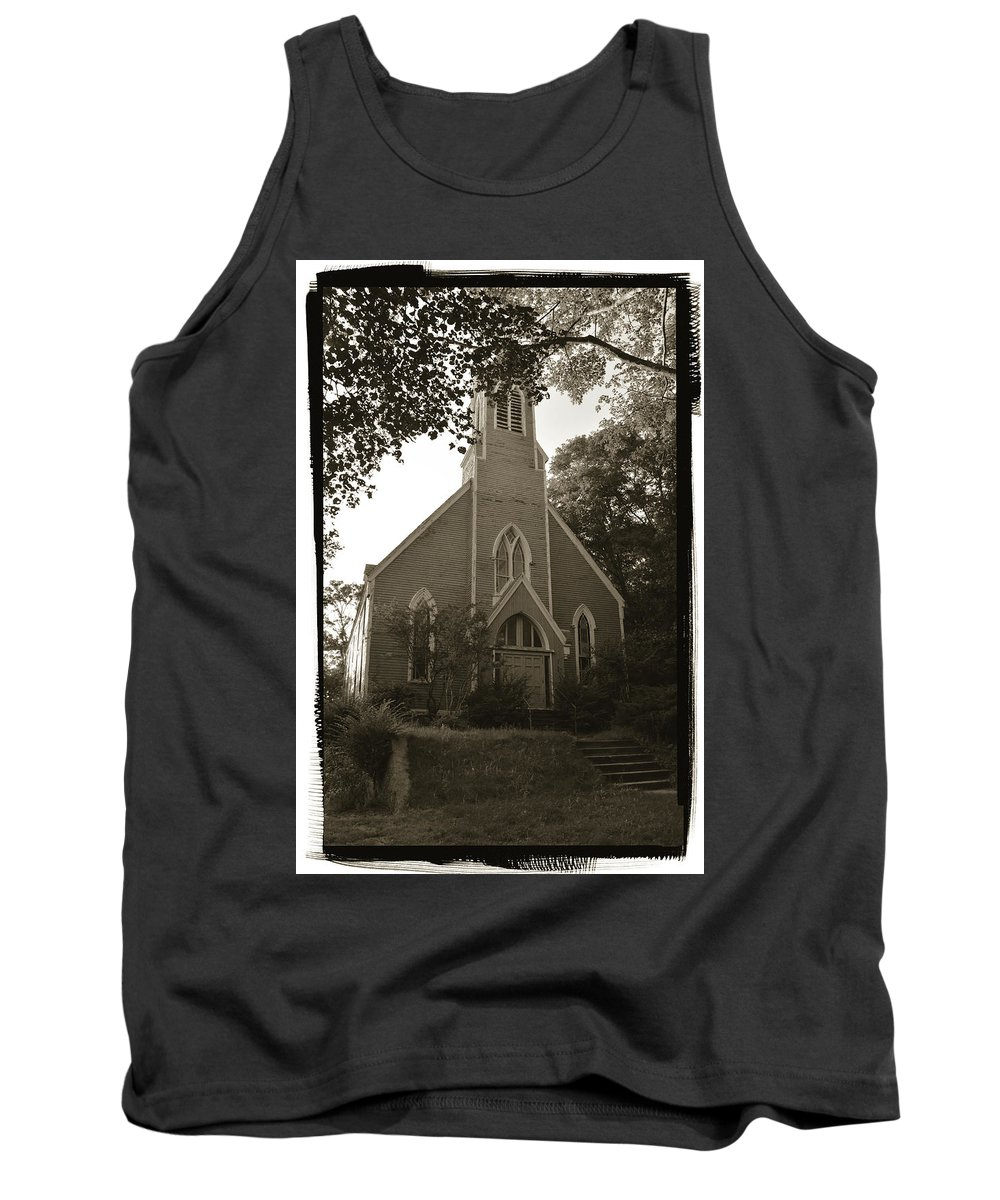 Church Tank Top featuring the photograph Blue Church In Gloucester by Pamela Picassito
