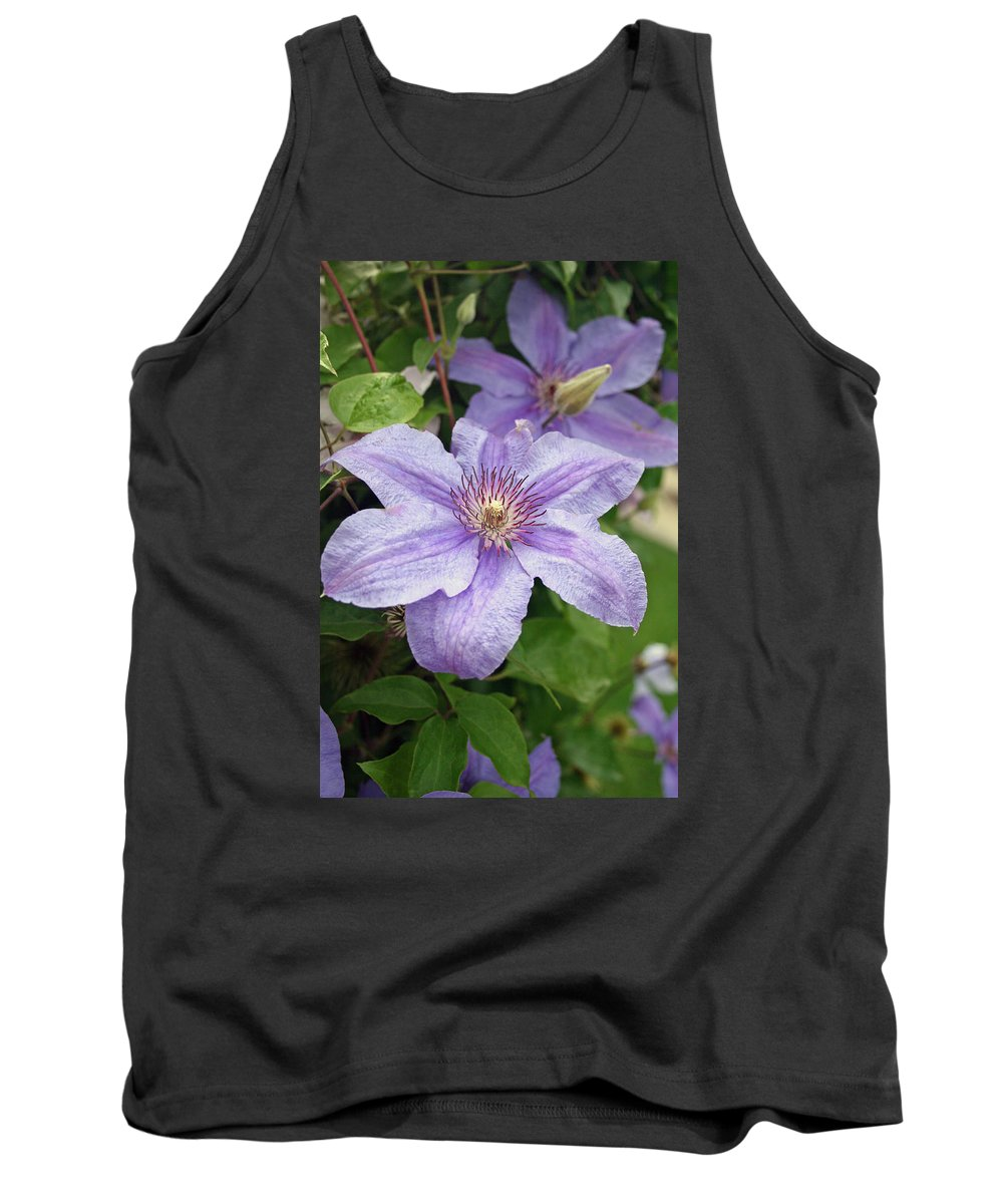 Clematis Tank Top featuring the photograph Blue Clematis by Margie Wildblood