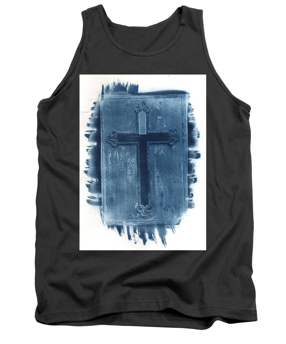 Cyanotype Tank Top featuring the photograph Blue Cross by Jane Linders