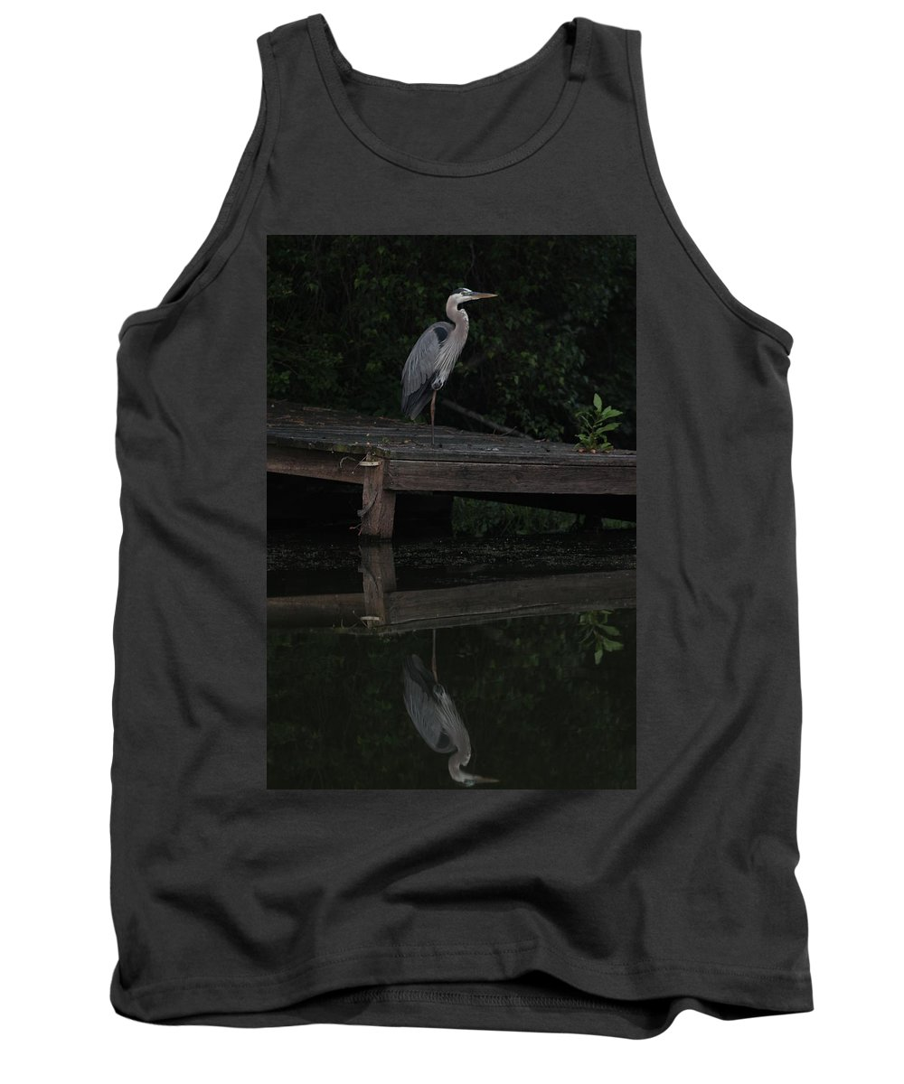 Blue Heron Tank Top featuring the photograph Blue Heron At Dusk by Kathleen Moore Lutz