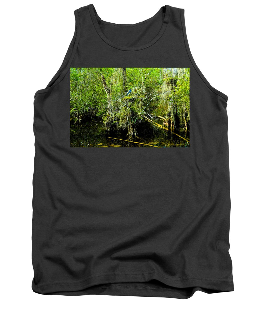 Art Tank Top featuring the painting Blue Heron by David Lee Thompson