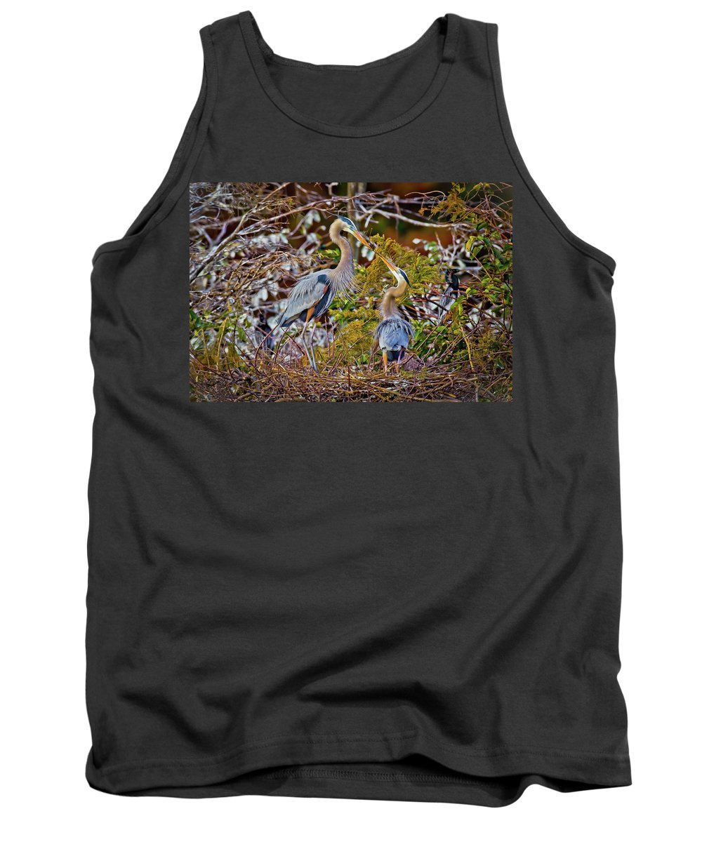 Blue Herons Tank Top featuring the photograph Blue Herons by Dennis Goodman