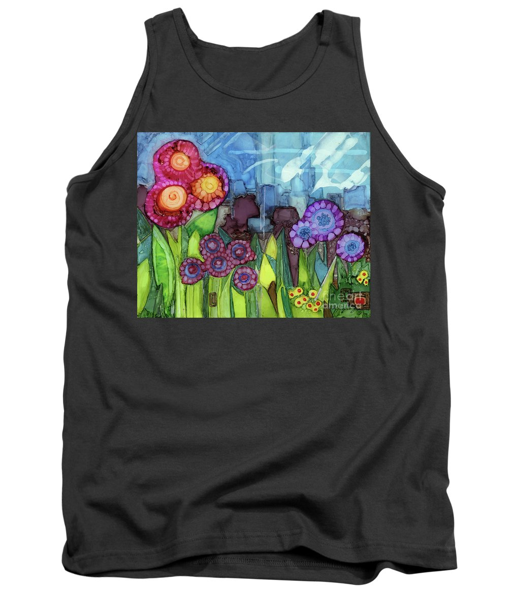 Alcohol Ink Tank Top featuring the painting Blue Hoo Hoo Skies by Vicki Baun Barry