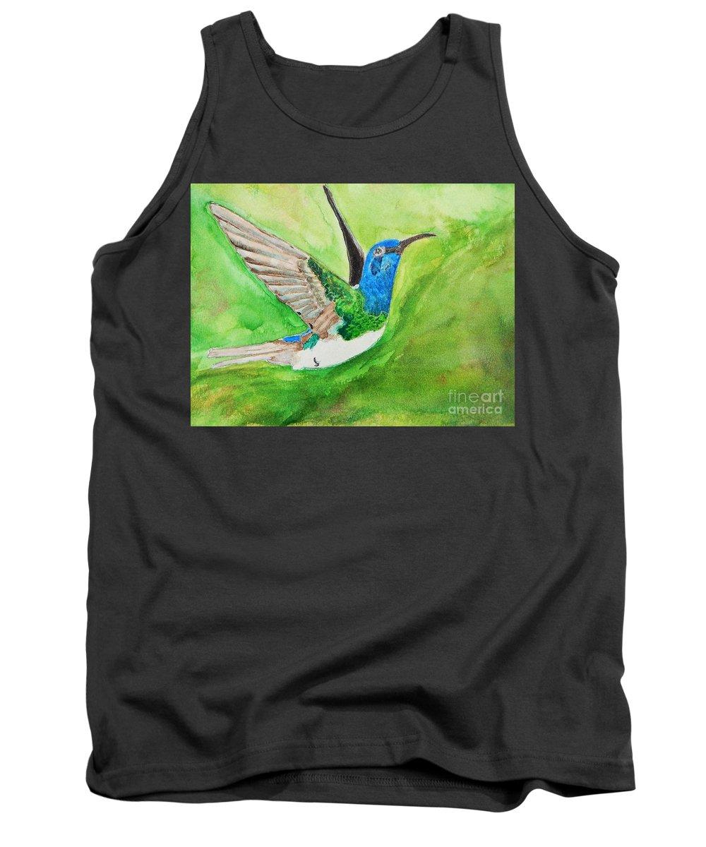 Humming Bird Tank Top featuring the painting Blue Humming Bird by Barbara King