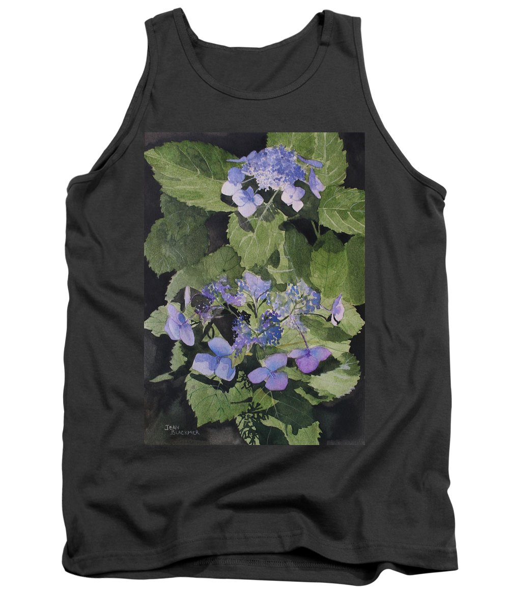 Flowers Tank Top featuring the painting Blue Lace by Jean Blackmer