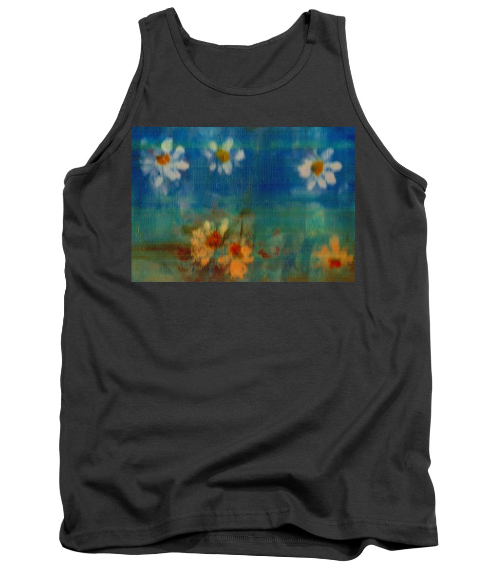 Oilpainting Tank Top featuring the painting Blue Landscape In Oil by Pepita Selles