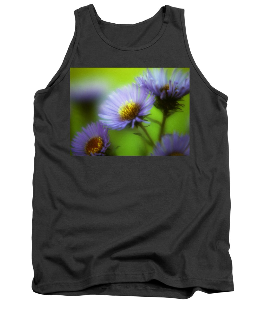 Flowers. Macrophotography Tank Top featuring the photograph Blue On Green by Lee Santa