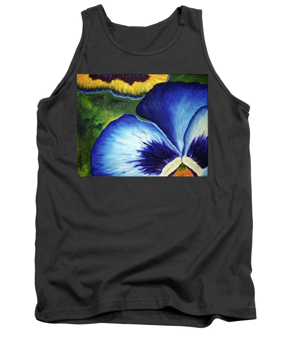 Pansy Tank Top featuring the painting Blue Pansies by Nancy Mueller