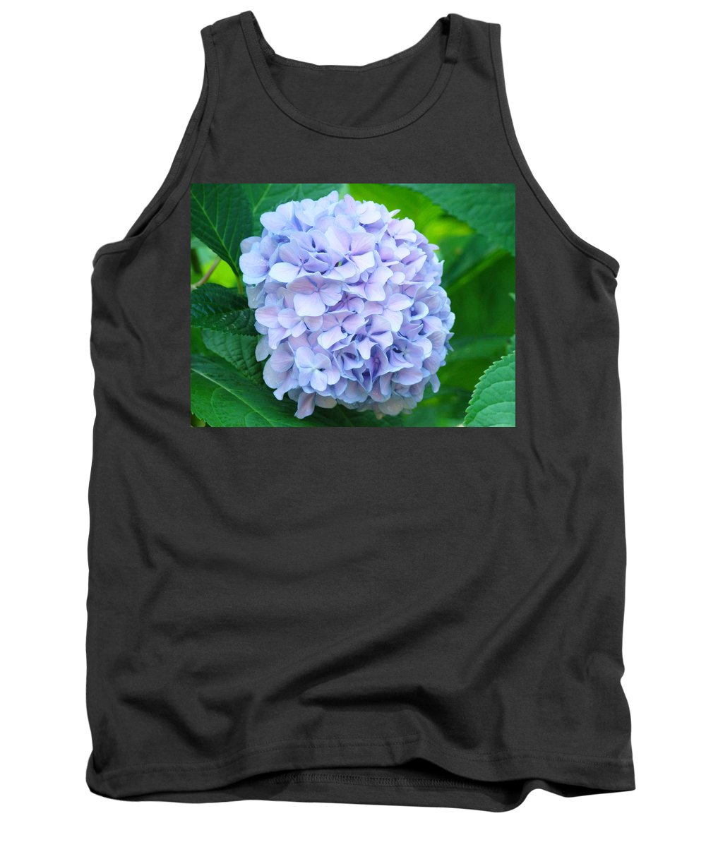 Green Tank Top featuring the photograph Blue Purple Hydrandea Floral Art Botanical Prints Canvas by Baslee Troutman