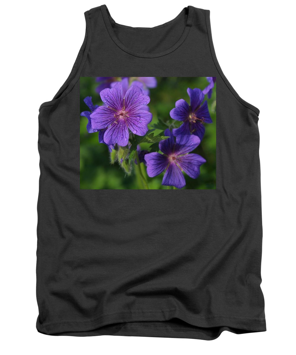 Blue Tank Top featuring the photograph Blue Raindrops by Ian MacDonald