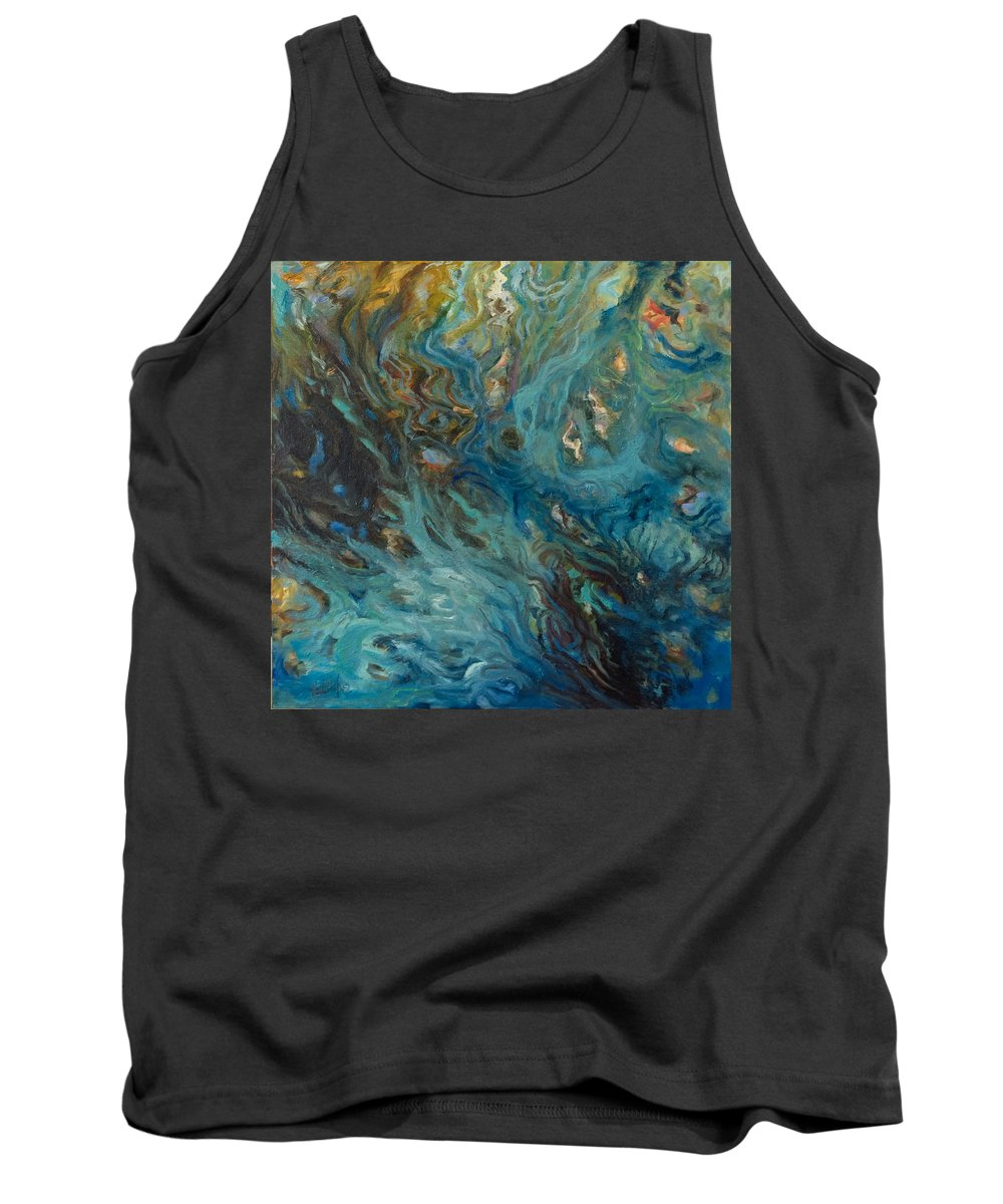 Marine Tank Top featuring the painting Blue by Rick Nederlof