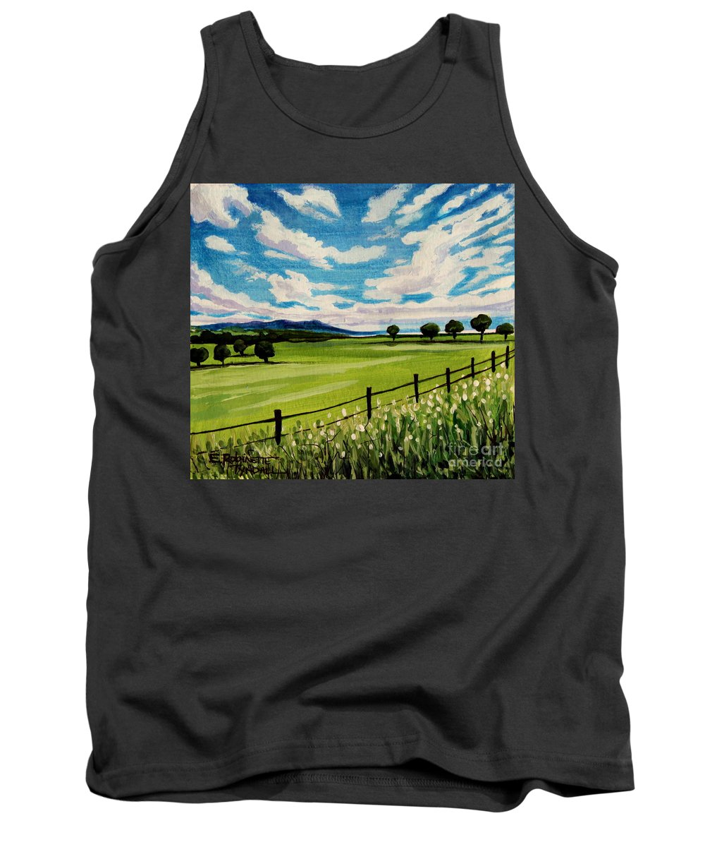 Landscape Tank Top featuring the painting Blue Skies by Elizabeth Robinette Tyndall