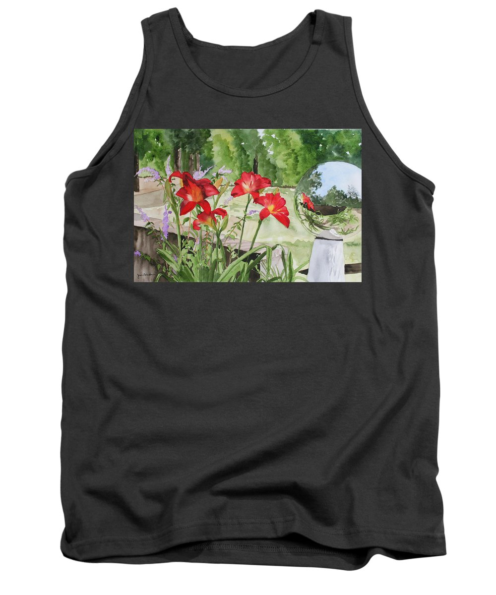 Flowers Tank Top featuring the painting Blue Sky Reflections by Jean Blackmer