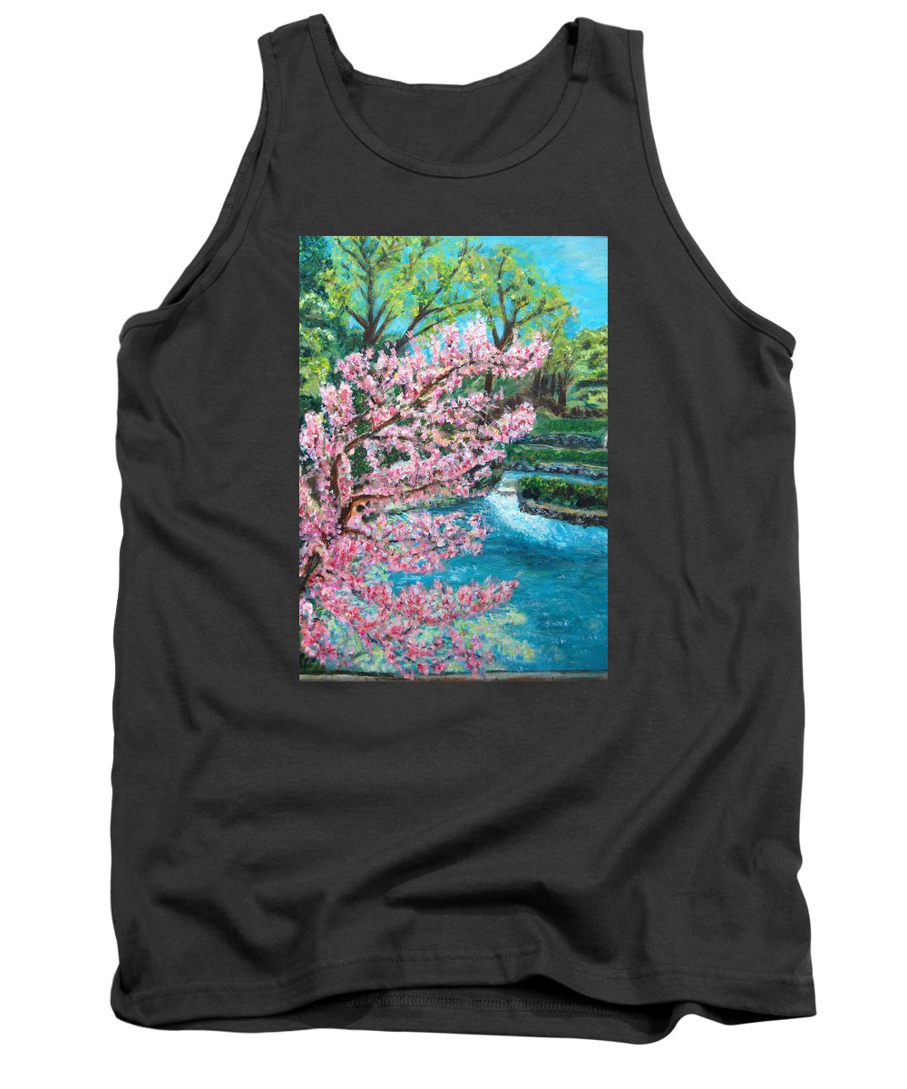 Blue Spring Tank Top featuring the painting Blue Spring by Carolyn Donnell