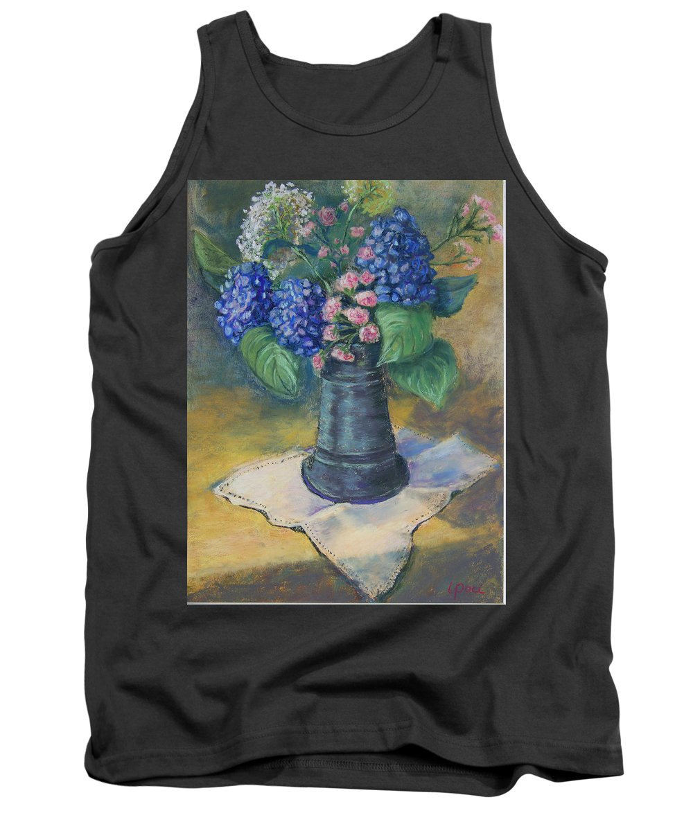 Flowers Tank Top featuring the painting Blue Summer by Laurie Paci