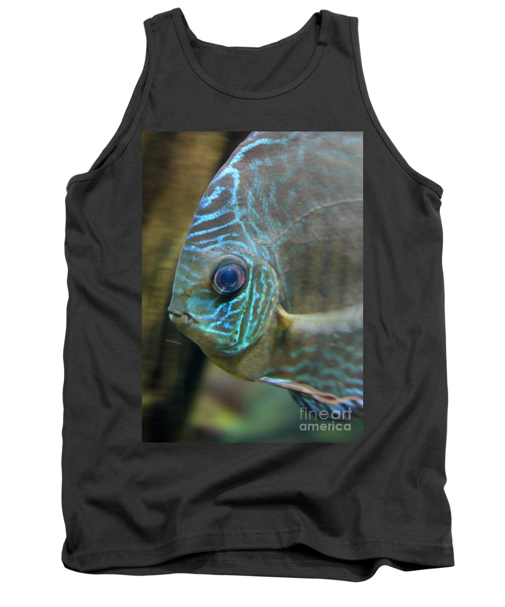Blue Fish Tank Top featuring the greeting card Blue Tropical Fish by Carol Groenen