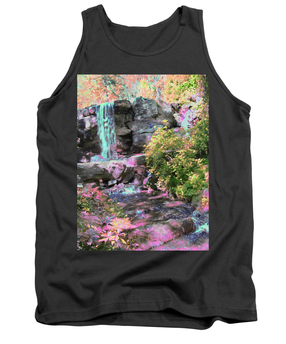 Waterfall Tank Top featuring the photograph Blue Waterfall by Anne Cameron Cutri