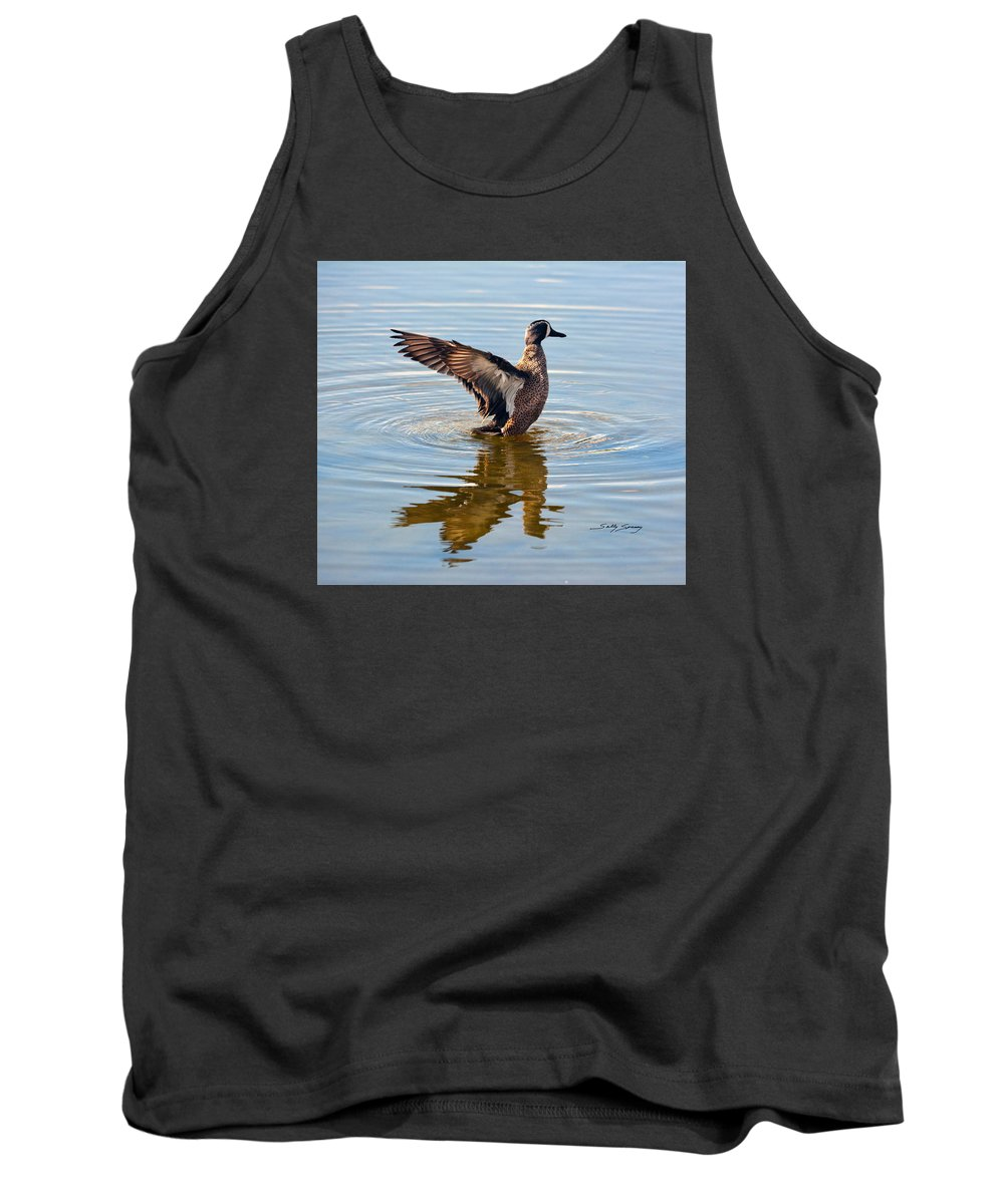 Blue Winged Teal Tank Top featuring the pyrography Blue Winged Teal 3 by Sally Sperry