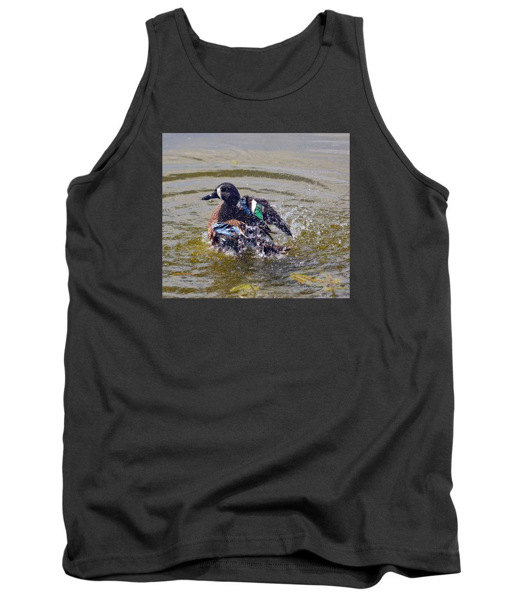 Blue Winged Teal Tank Top featuring the pyrography Blue Winged Teal 5 by Sally Sperry