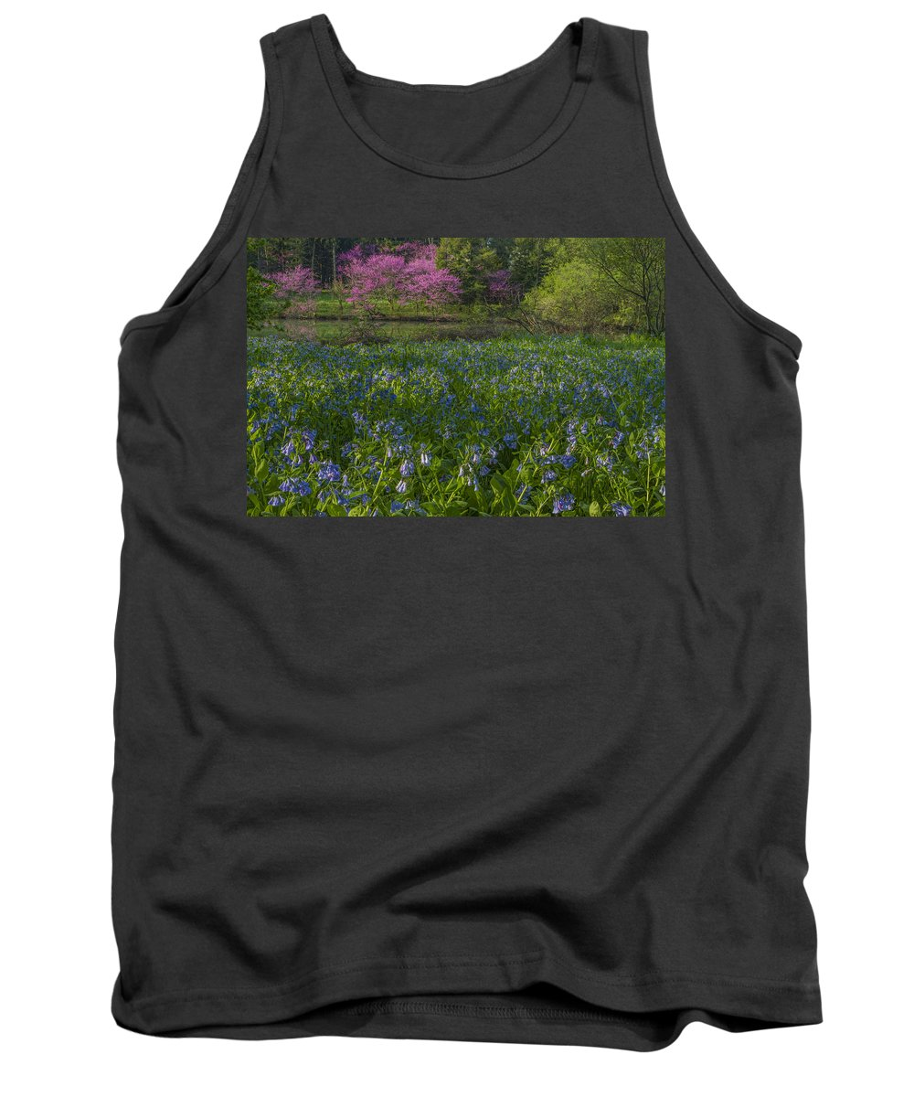 Redbud Tank Top featuring the photograph Bluebells And Redbuds by Lindley Johnson