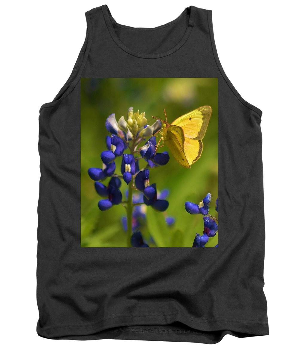 Flower Tank Top featuring the photograph Bluebonnet And Butterfly by Sidney Spires-Mangum