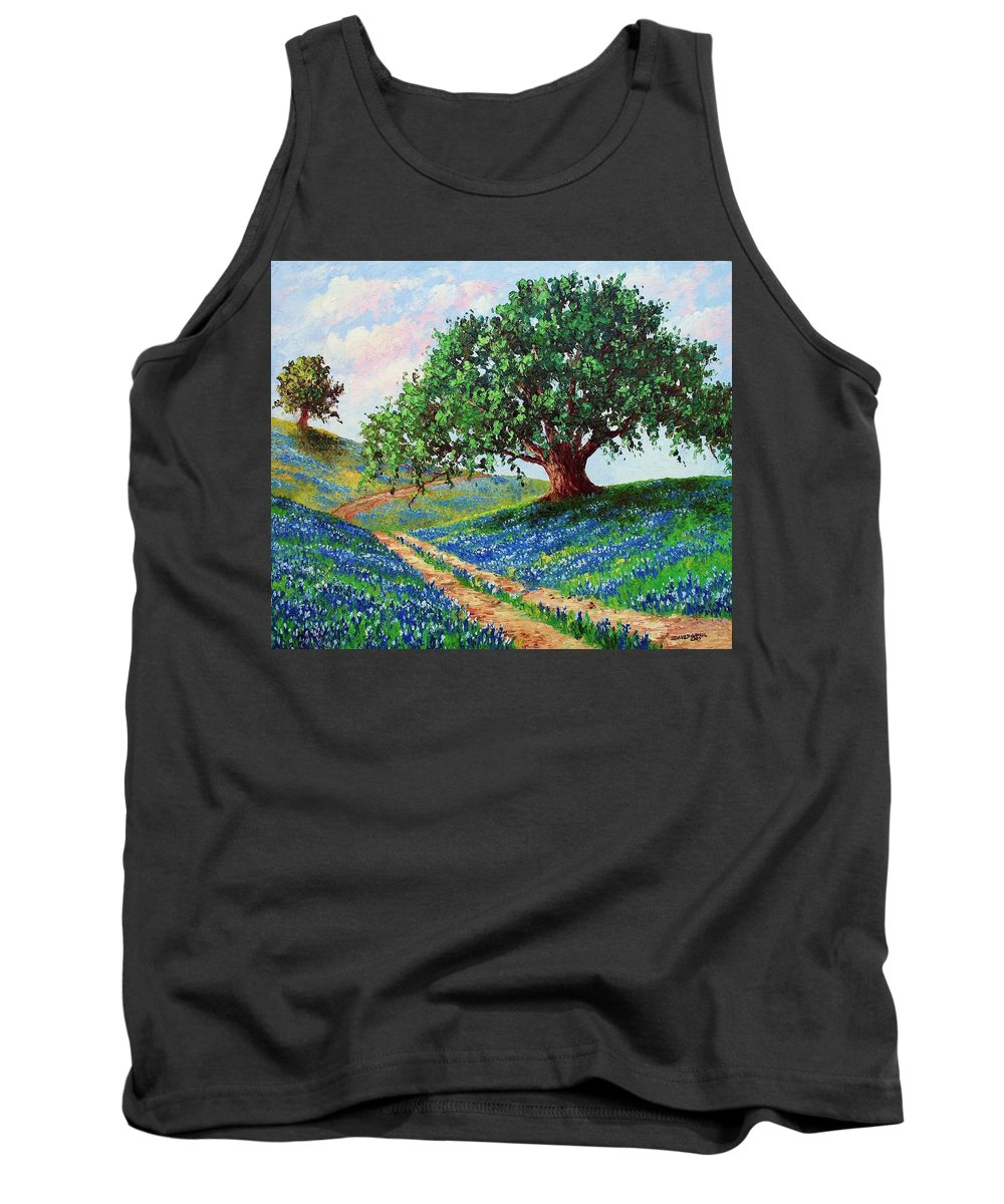 Bluebonnet Tank Top featuring the painting Bluebonnet Road by David G Paul